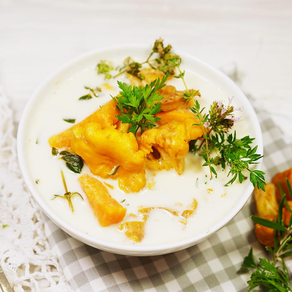 Eierschwammerlsuppe mit Süßkartoffeln - Elke Eisner Steinzeitköchin Paleo