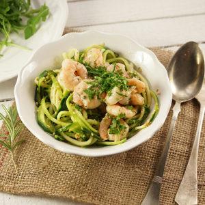 Zucchini-Nudeln mit Majoran-Shrimps-Sauce  - Koch-Rezepte Elke Eisner Steinzeitköchin Paleo