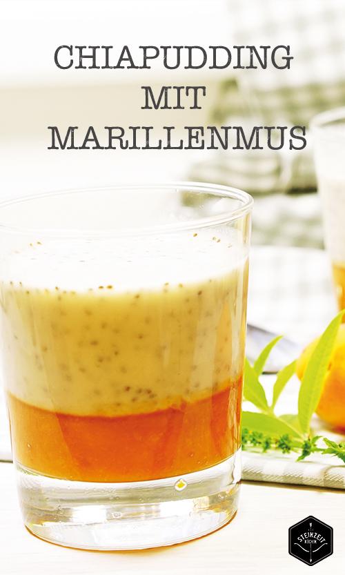 Chiapudding mit Marillenmus, Frühstück, gesund, zum Abnehmen, schnelles gesundes Frühstück, Paleo, ohne Zucker, laktosefrei, ohne Milchprodukte, keine Kohlenhydrate, gesund, ideal und fit und schlank zu werden.