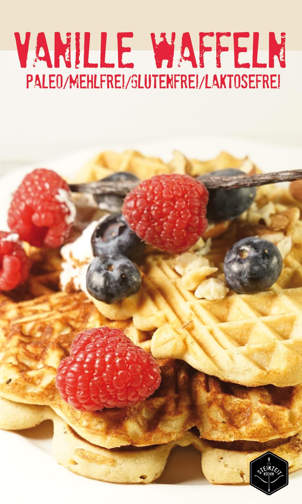 Paleo-Vanille Waffeln, kohlenhydratarm, ballastoffreich und basisch, eine gesunde Frühstücksidee für den Sonntag, ideal zum Abnehmen ohne Mehl und ohne Getreide.