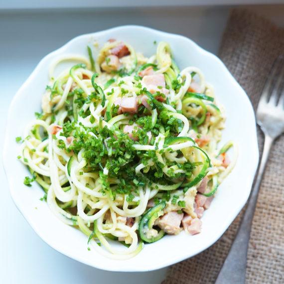 Zucchini-Nudeln alla Carbonara - Koch-Rezepte Elke Eisner Steinzeitköchin Paleo