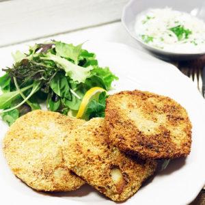 Sellerie-Schnitzel mit Meerrettich-Schnittlauchsauce  - Koch-Rezepte Elke Eisner Steinzeitköchin Paleo