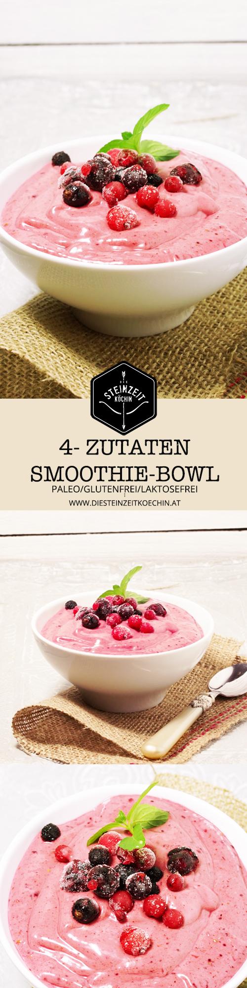 Smoothie Bowl mit Beeren, low carb, paleo, wenig kohlenhydrate, gesundes Frühstück, schlank, ideal zum Abnehmen, Frühstücksidee, wenige Zutaten, gesund ernähren, schnell zubereitet, zuckerfrei,