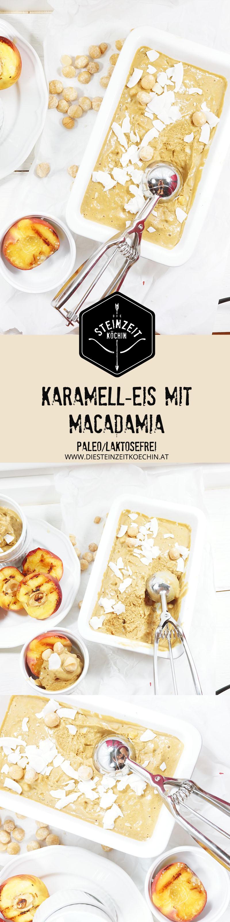 Karamell, Eis mit Macadamia nüssen und gegrillten Pfirsich, laktosefrei, mit Kokosmilch, zuckerfrei, mit Kokosblütenzucker, glutenfrei, paleo, Dessert, Eiscreme